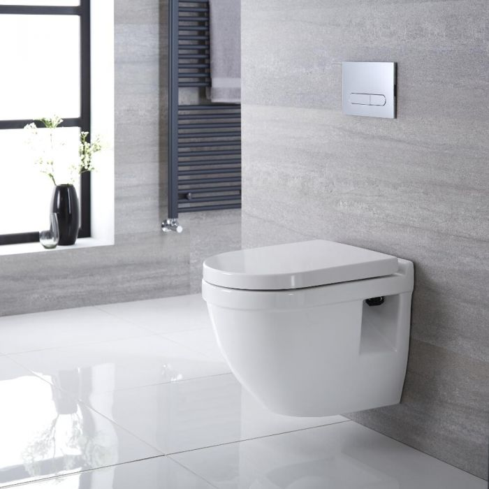 Rundes Hänge-WC Weiß inkl. Sitz mit Absenkautomatik - Belstone