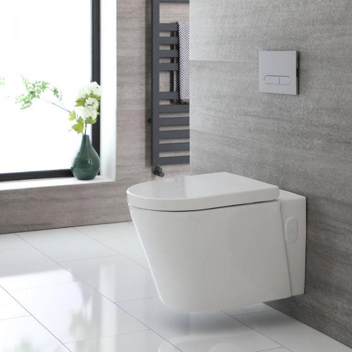 Rundes Hänge-WC Weiß ohne Spülrand inkl. Sitz mit Absenkautomatik - Exton