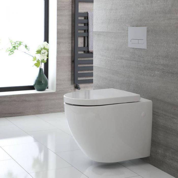 Rundes Hänge-WC Weiß ohne Spülrand inkl. Sitz mit Absenkautomatik - Ashbury
