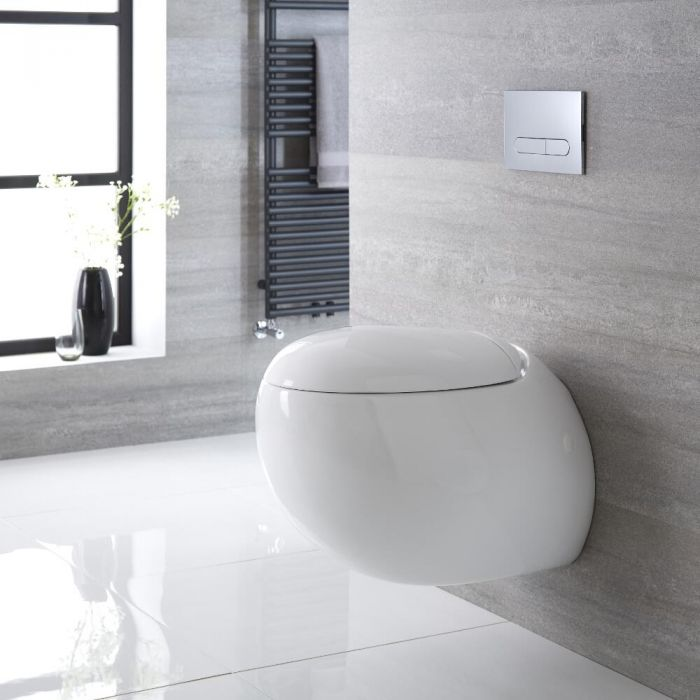 Rundes Hänge-WC Weiß inkl. Sitz mit Absenkautomatik - Langtree