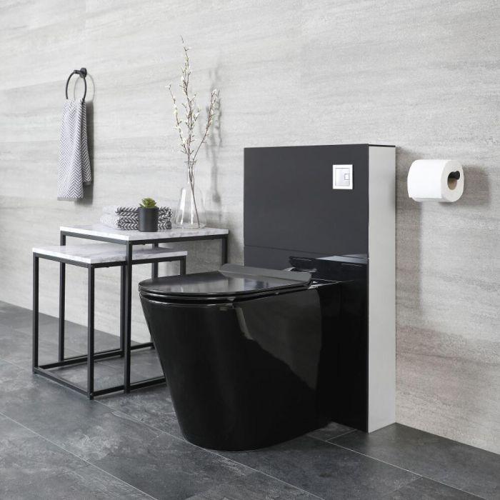 Nox Stand-Toilette mit Saru Sanitärmodul, Schwarz, inkl. Spülkasten