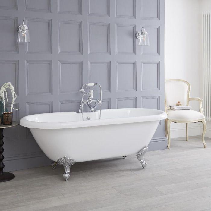 Freistehende Badewanne, 1795mm x 785mm, Mittelablauf - Füße wählbar - Weiß - Oxford