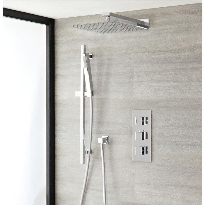 Duschsystem mit Thermostat – mit 300mm x 300mm Duschkopf und Brausestangenset - Chrom – Kubix