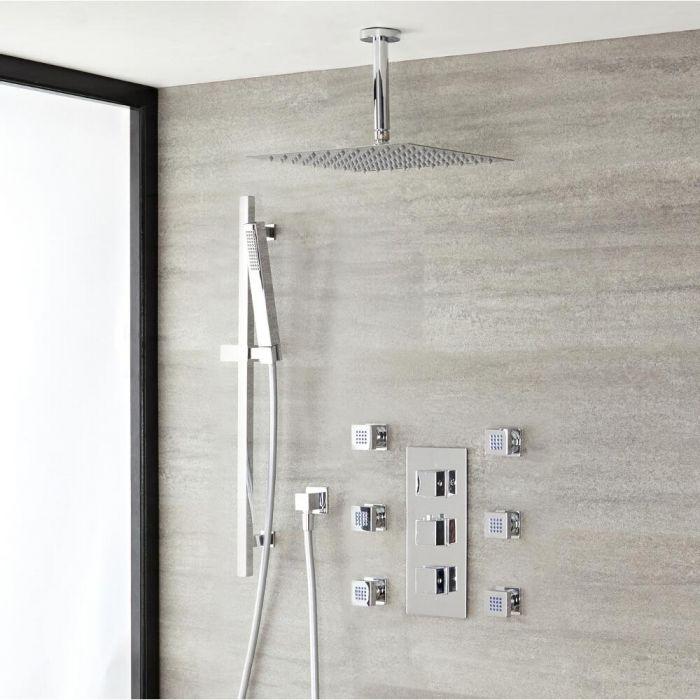 Duschsystem mit Thermostat und Umsteller – mit 300mm x 300mm Duschkopf, Brausestangenset und Körperdüsen - Chrom - Kubix