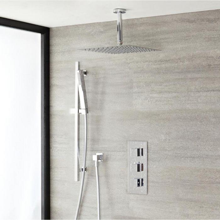Duschsystem mit Thermostat – mit 300mm x 300mm Duschkopf und Brausestangenset  - Chrom - Kubix