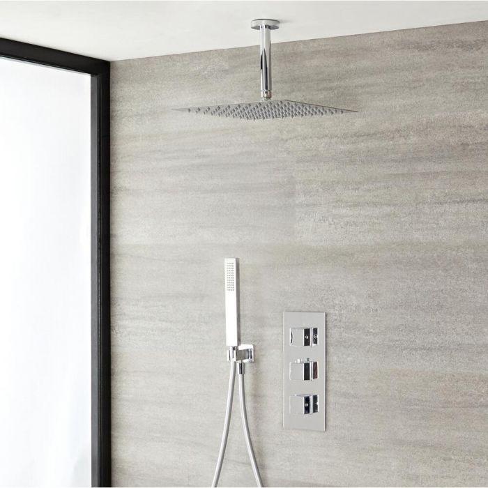 Duschsystem Kubix inkl 300x300mm Kopfbrause, Handbrause & Thermostat Duscharmatur