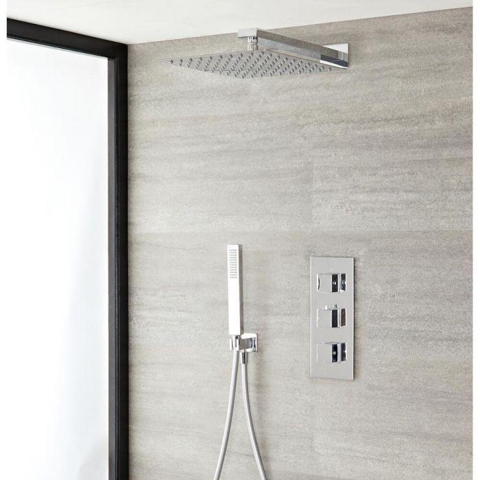 Duschsystem mit Thermostat– mit 400mm x 400mm Duschkopf und Handbrauseset - Chrom – Kubix