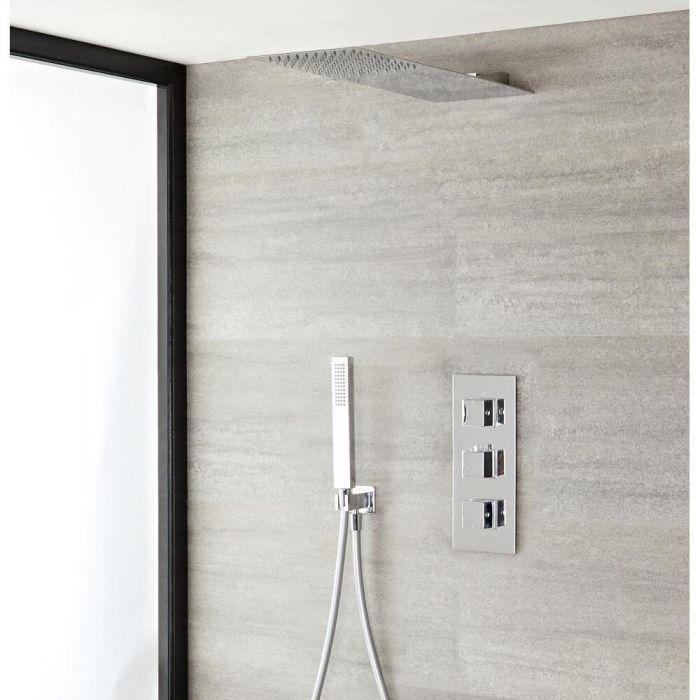 Duschsystem mit Thermostat – mit schmalem Duschkopf und Handbrauseset - Chrom - Kubix