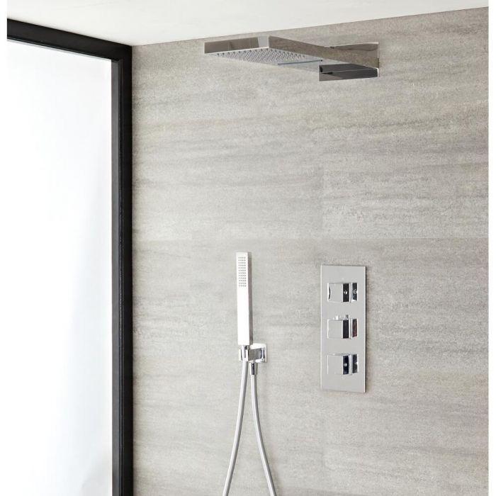 Duschsystem mit Thermostat und Umsteller– mit schmalem Wasserfall-Duschkopf und Handbrauseset - Chrom – Kubix