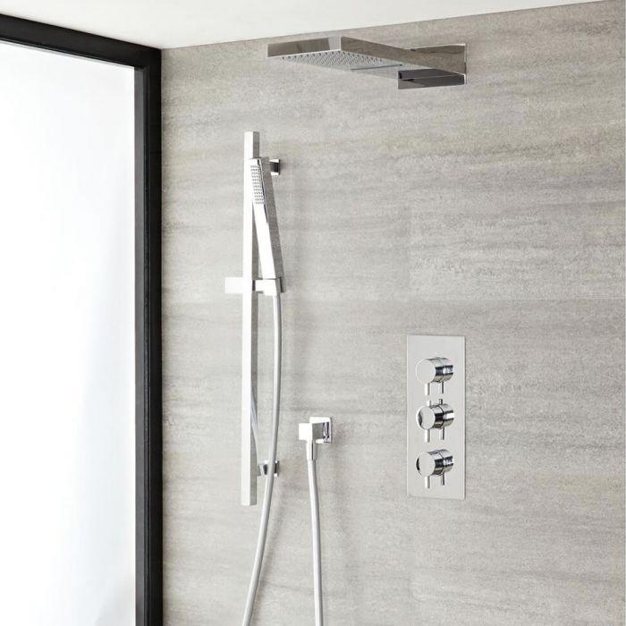 Duschsystem mit Thermostat und Umsteller– mit schmalem Wasserfall-Duschkopf und Brausestangenset - Chrom – Como
