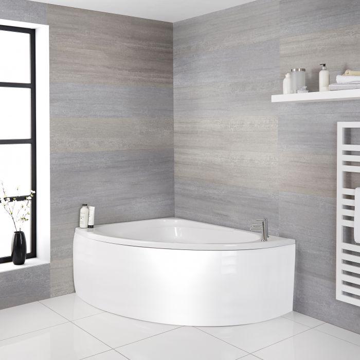 Eckbadewanne mit Schürze, linksbündig, 1500mm x 1020mm - Weiß - Belstone