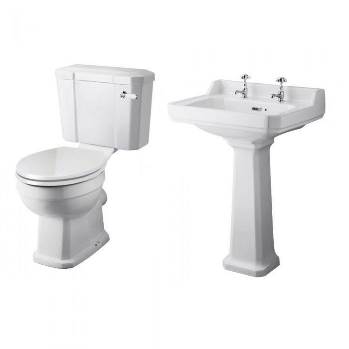 Klassische Badausstattung Lewiston aus Keramik -Waschtisch und WC