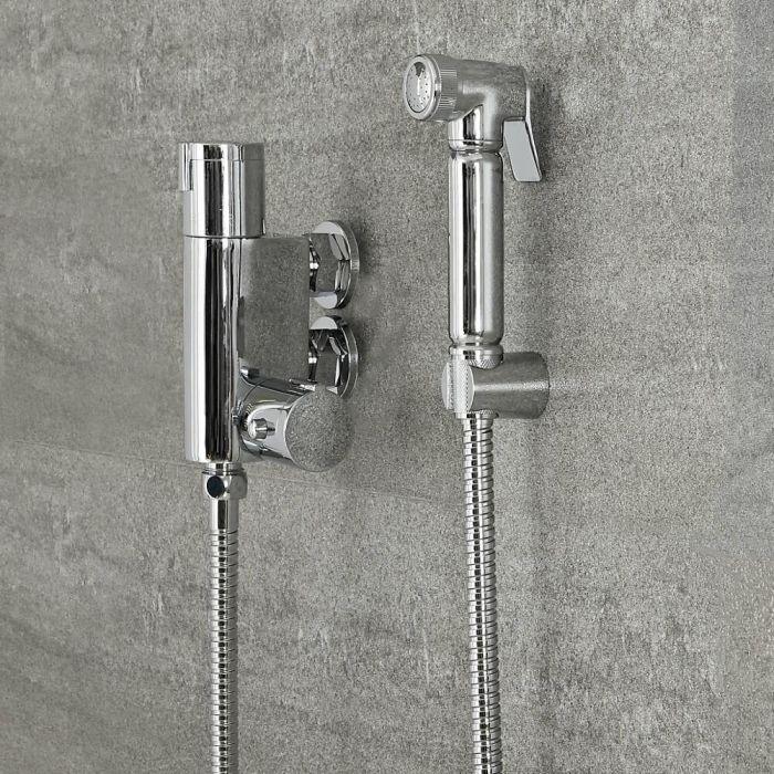 Hygienedusche mit Thermostat, Wandmontage – Chrom – Como