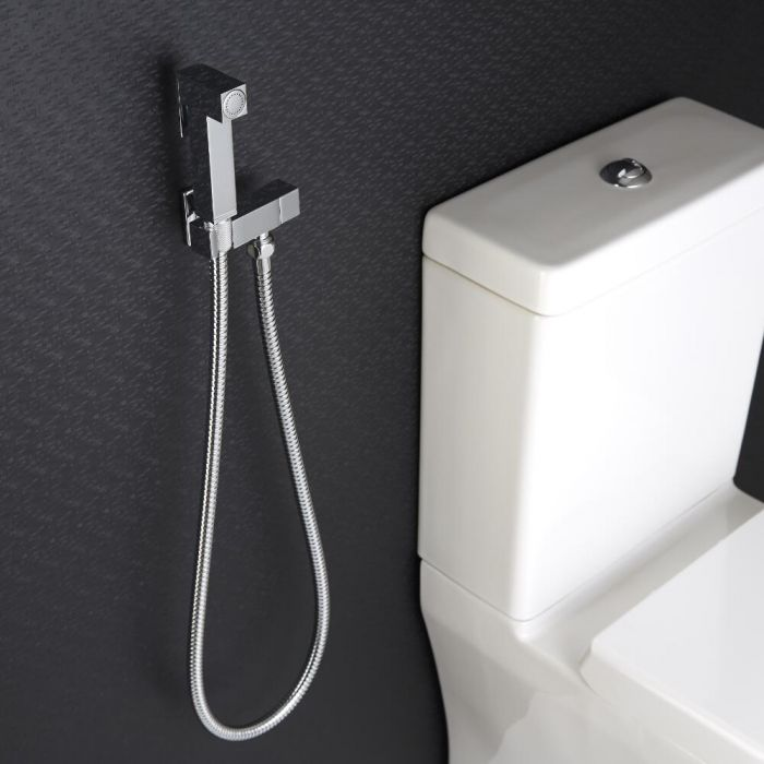 Hygienedusche mit Absperrventil - Wandmontage – Chrom – Kubix