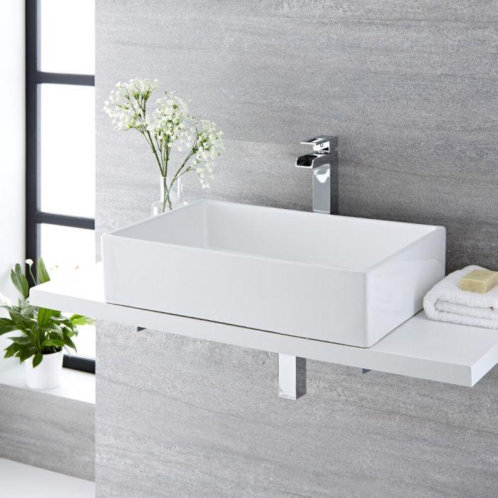 Aufsatzwaschbecken, rechteckig, 610mm x 400mm - mit hohem Wasserfall-Einhebelmischer - Haldon