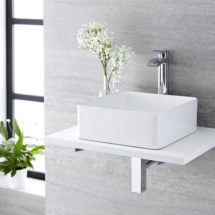 Aufsatzwaschbecken, quadratisch - 360mm x 360mm, ohne Hahnloch - Alswear