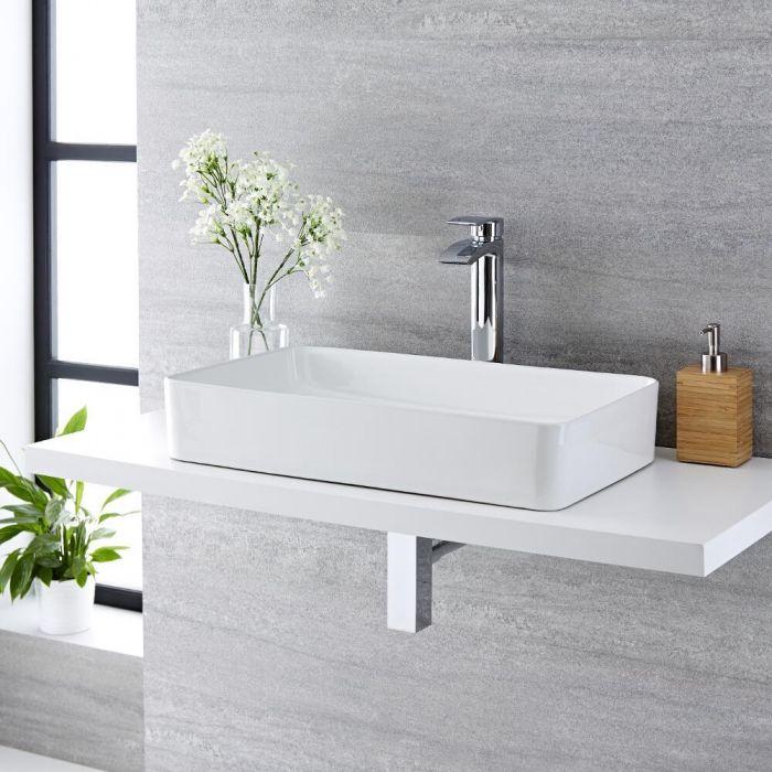 Aufsatzwaschbecken, rechteckig, 610mm x 350mm - mit hohem Wasserfall-Einhebelmischer – Alswear