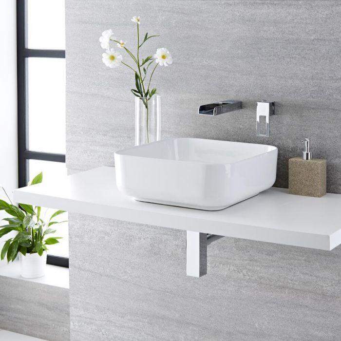 Aufsatzwaschbecken, quadratisch, 400mm x 400mm - mit Unterputz Wasserfall-Einhebelmischer – Milton