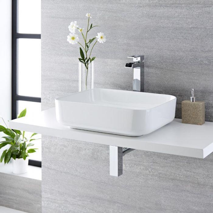 Aufsatzwaschbecken, rechteckig – 500mm x 400mm, ohne Hahnloch - Milton