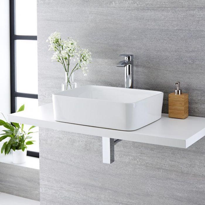 Aufsatzwaschbecken, rechteckig – 480mm x 370mm, ohne Hahnloch - Alswear