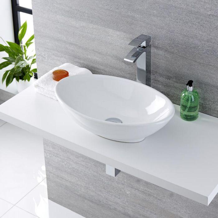 Aufsatzwaschbecken, oval, 520mm x 320mm - mit hohem Wasserfall-Einhebelmischer - Kenton
