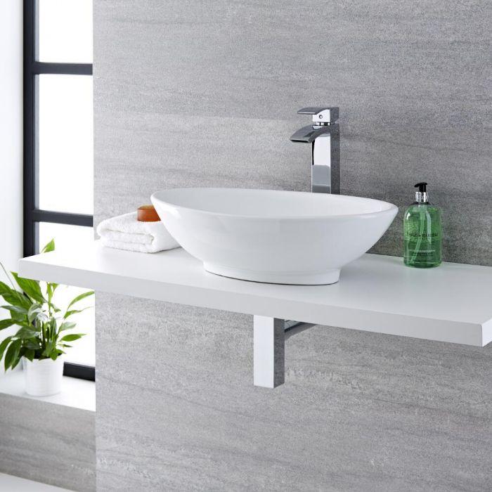 Aufsatzwaschbecken, oval – 520mm x 320mm, ohne Hahnloch - Kenton
