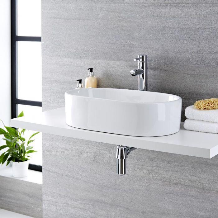 Aufsatzwaschbecken, oval, 575mm x 360mm - mit hohem Einhebelmischer - Otterton