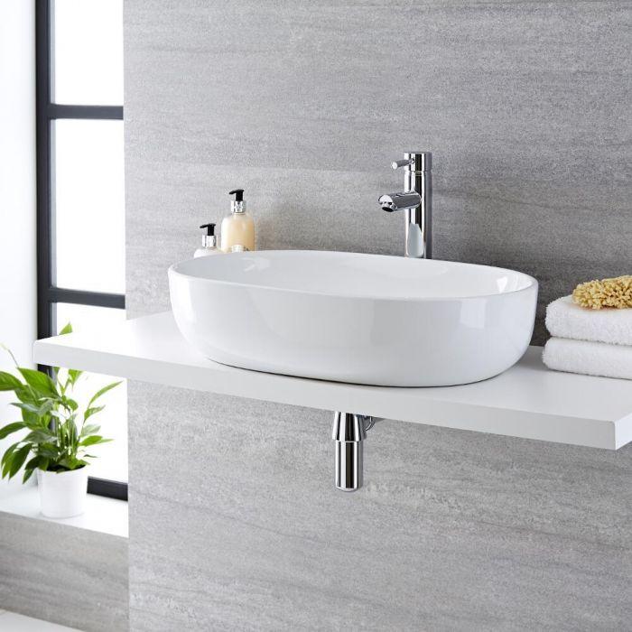 Aufsatzwaschbecken, oval – 590mm x 425mm, ohne Hahnloch – Otterton