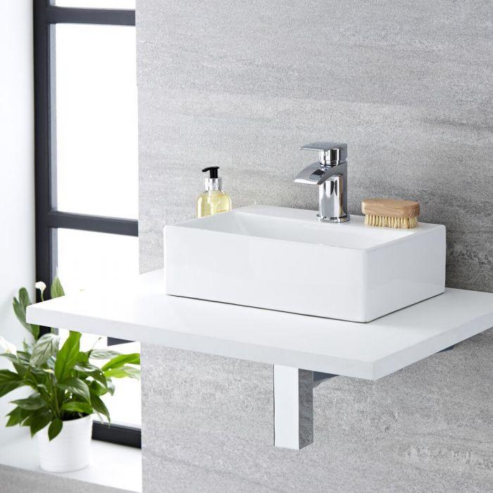 Aufsatzwaschbecken, rechteckig – 360mm x 250mm, mit 1 Hahnloch – Sandford