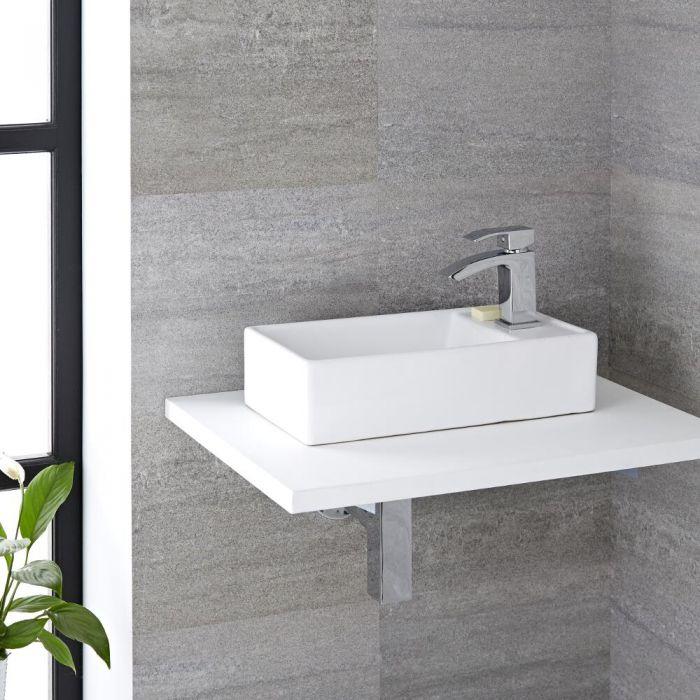Aufsatzwaschbecken, rechteckig – 400mm x 220mm, mit 1 Hahnloch – Halwell