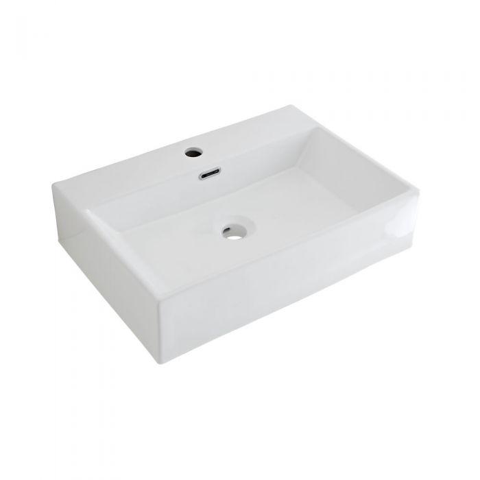 Aufsatzwaschbecken Sandford Rechteckig 600mm x 420mm mit Einhebelarmatur Wick im Set