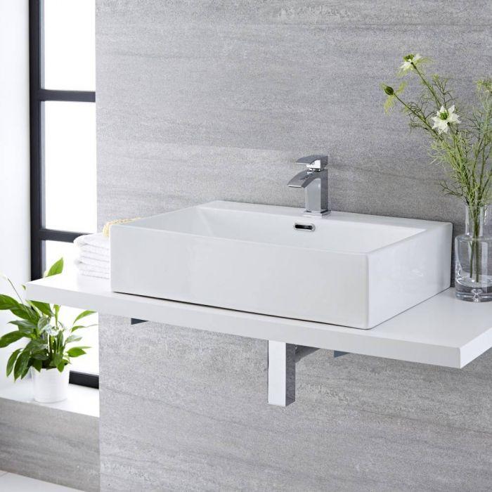 Aufsatzwaschbecken, rechteckig – 600mm x 420mm, mit 1 Hahnloch – Sandford