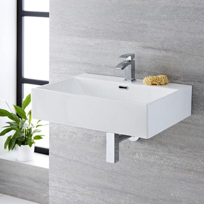 Hängewaschbecken, rechteckig – 600mm x 420mm, mit 1 Hahnloch - Sandford