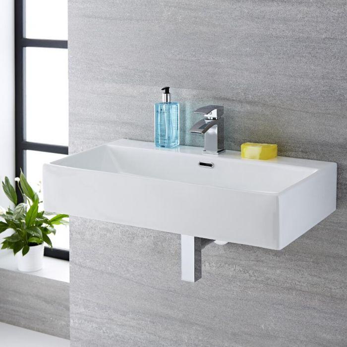 Hängewaschbecken, rechteckig – 750mm x 420mm, mit 1 Hahnloch – Sandford
