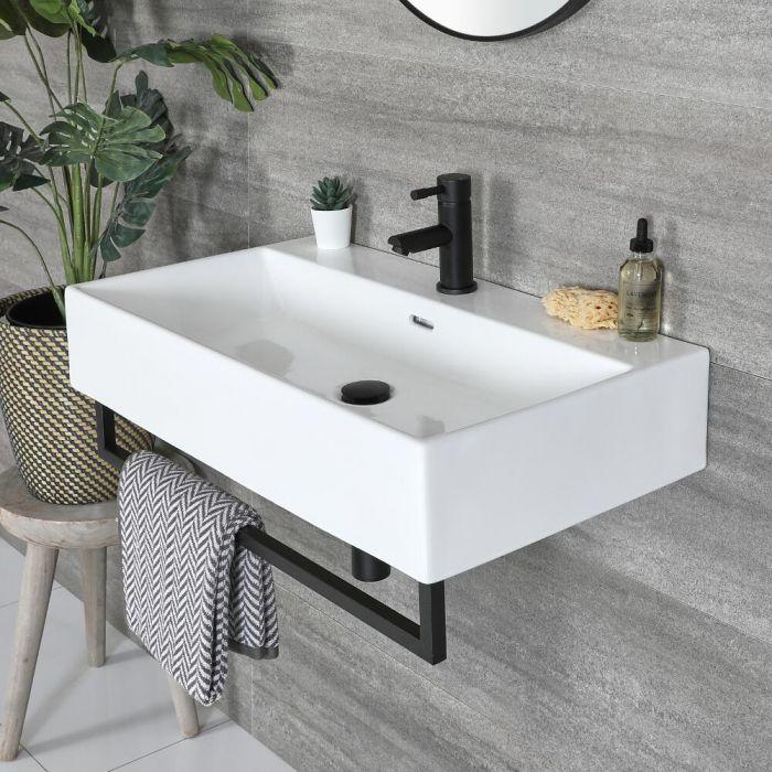 Eckiges Hängewaschbecken Weiß 750mm x 420mm mit Handtuchhalter Schwarz - Sandford