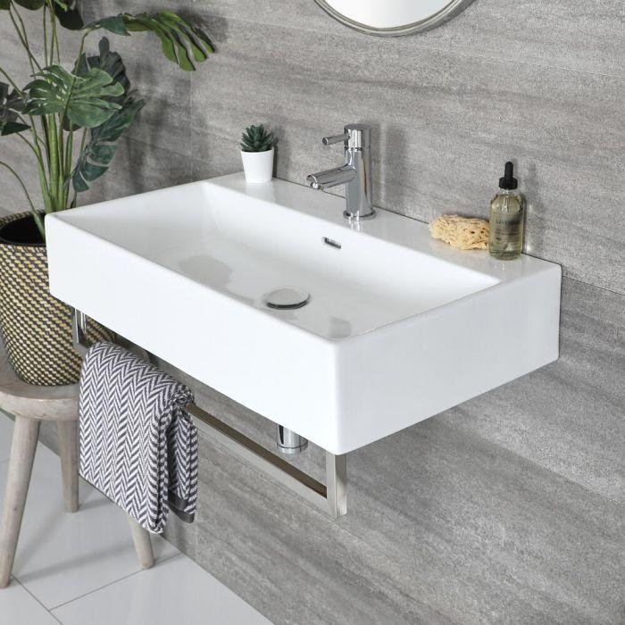 Eckiges Hängewaschbecken Weiß 750mm x 420mm mit Handtuchhalter Chrom - Sandford