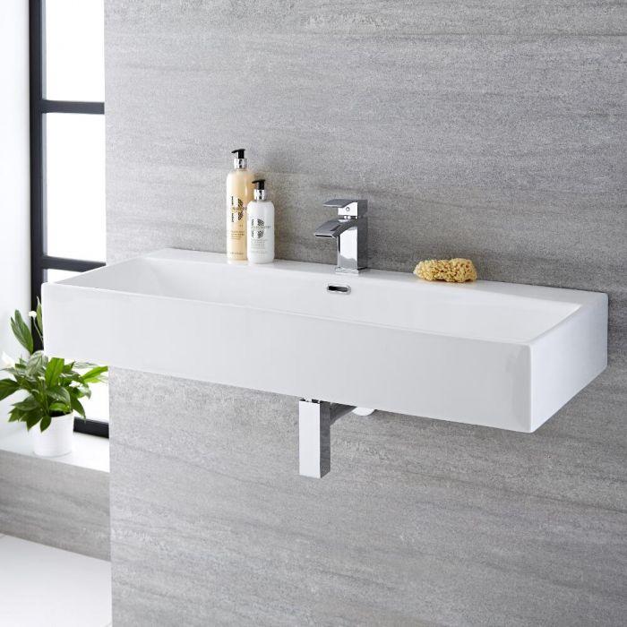Hängewaschbecken, rechteckig – 1000mm x 420mm, mit 1 Hahnloch – Sandford