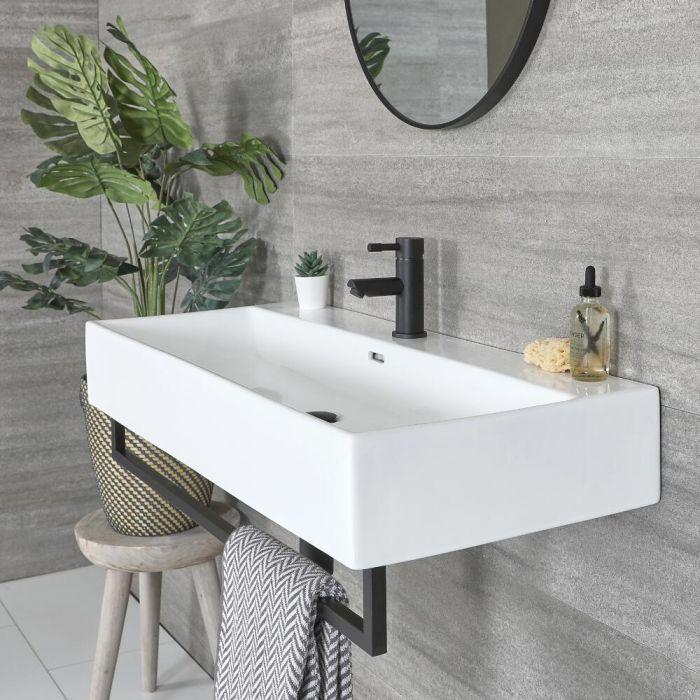 Eckiges Hängewaschbecken Weiß 1010mm x 425mm mit Handtuchhalter Schwarz - Sandford