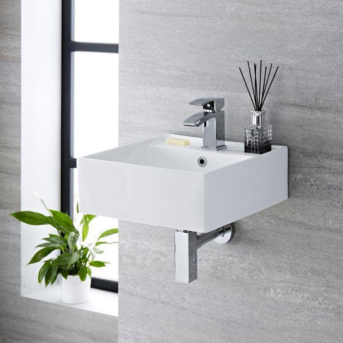 Hängewaschbecken, quadratisch – 400mm x 400mm, mit 1 Hahnloch – Halwell