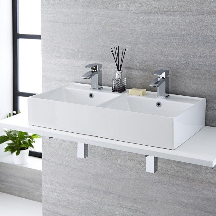 Doppel-Aufsatzwaschbecken, rechteckig – 820mm x 420mm, mit 2 Hahnlöchern – Halwell