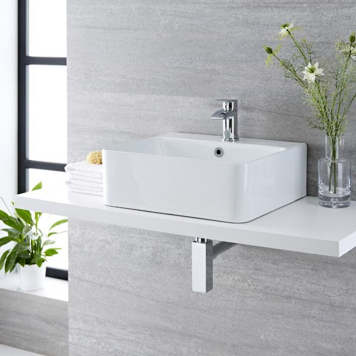Aufsatzwaschbecken, rechteckig – 460mm x 420mm, mit 1 Hahnloch – Exton