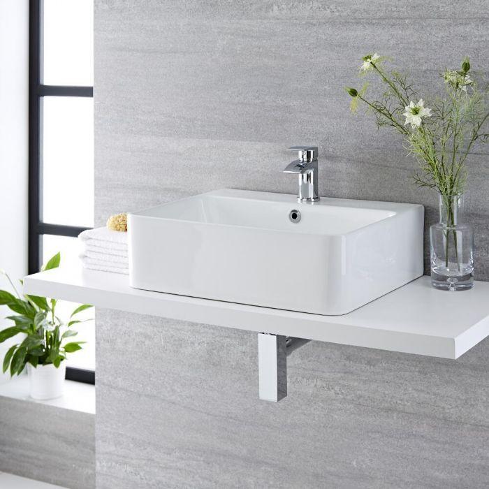 Aufsatzwaschbecken, rechteckig – 520mm x 420mm, mit 1 Hahnloch – Exton
