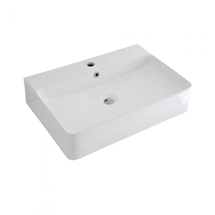 Aufsatzwaschbecken Exton Rechteckig 600mm x 310mm mit Einhebelarmatur im Set