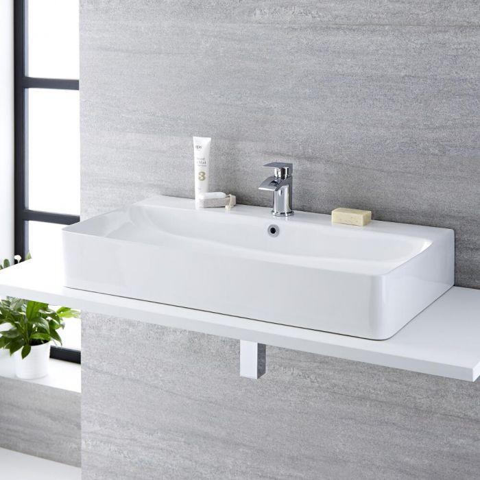 Aufsatzwaschbecken, rechteckig, 800mm x 415mm - mit Wasserfall-Einhebelmischer - Exton