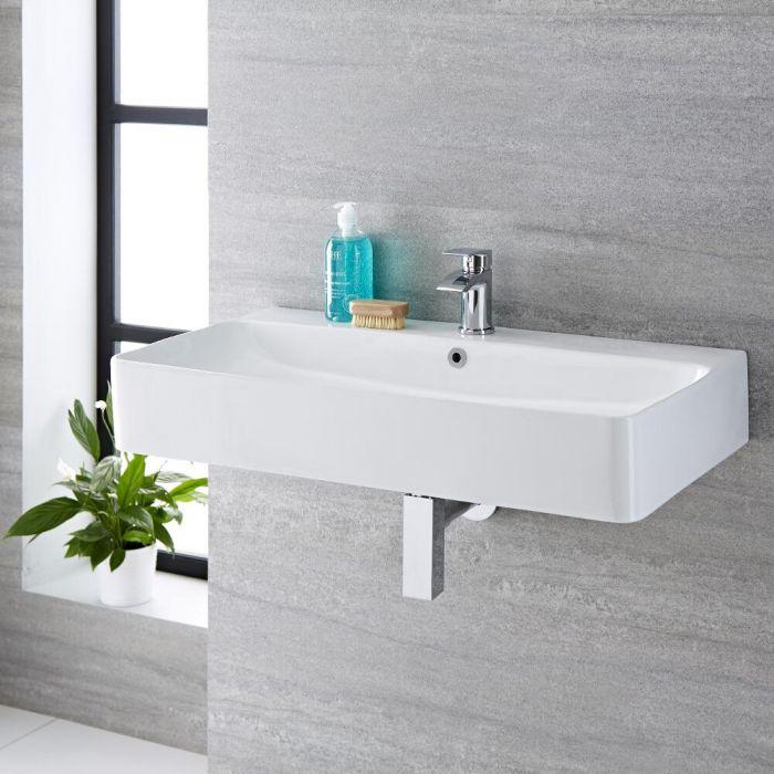 Hängewaschbecken, rechteckig – 800mm x 415mm, mit 1 Hahnloch – Exton