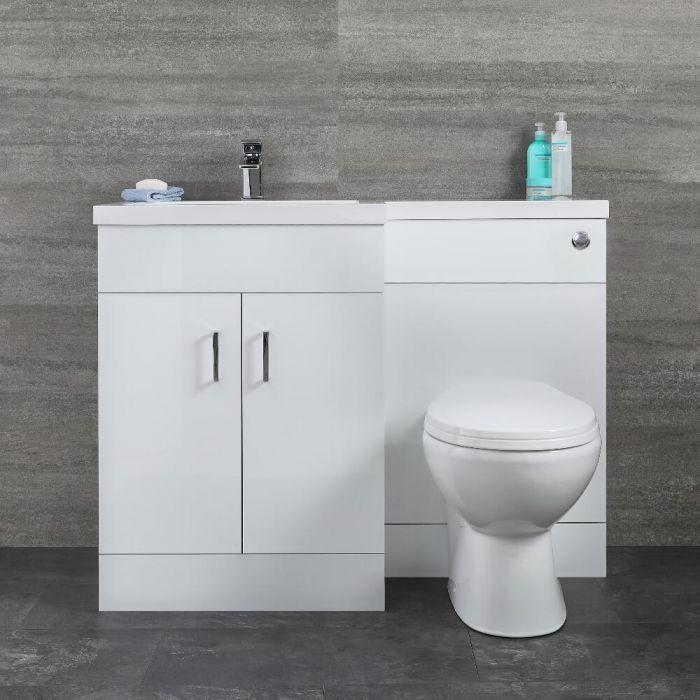 Geo Waschtisch mit Unterschrank Kombi-Set mit Stand WC Weiß, Links