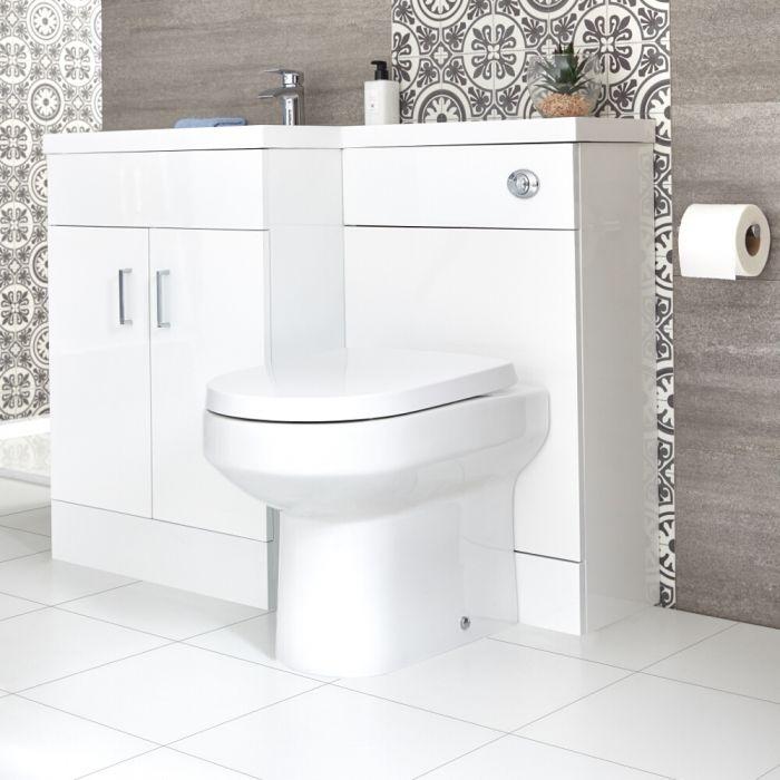 Waschtisch mit Unterschrank mit Stand WC Kombi-Set Weiß, Links - Geo