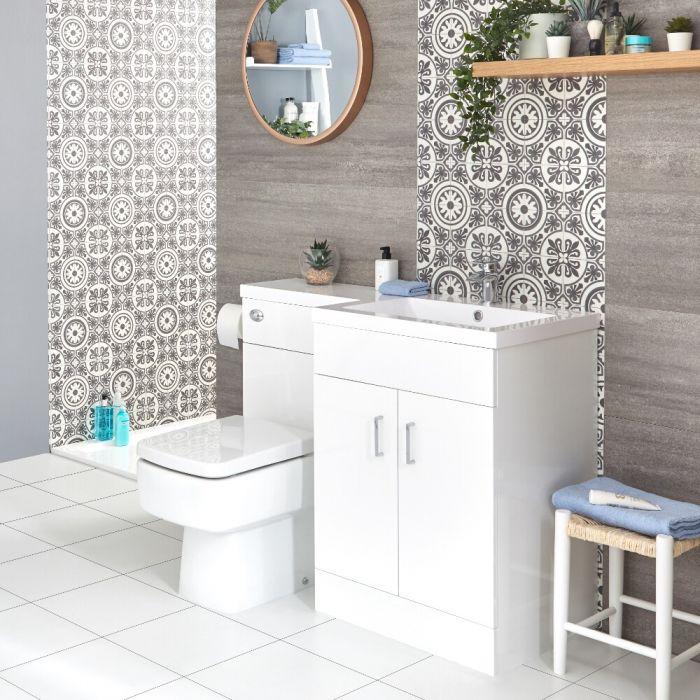 Waschtisch mit Unterschrank Kombi-Set mit Stand Toilette Weiß, Rechts - Geo