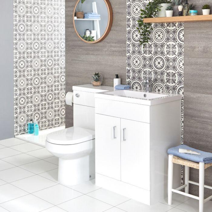 Waschtisch mit Unterschrank und Stand WC Kombi-Set Weiß, Rechts - Geo