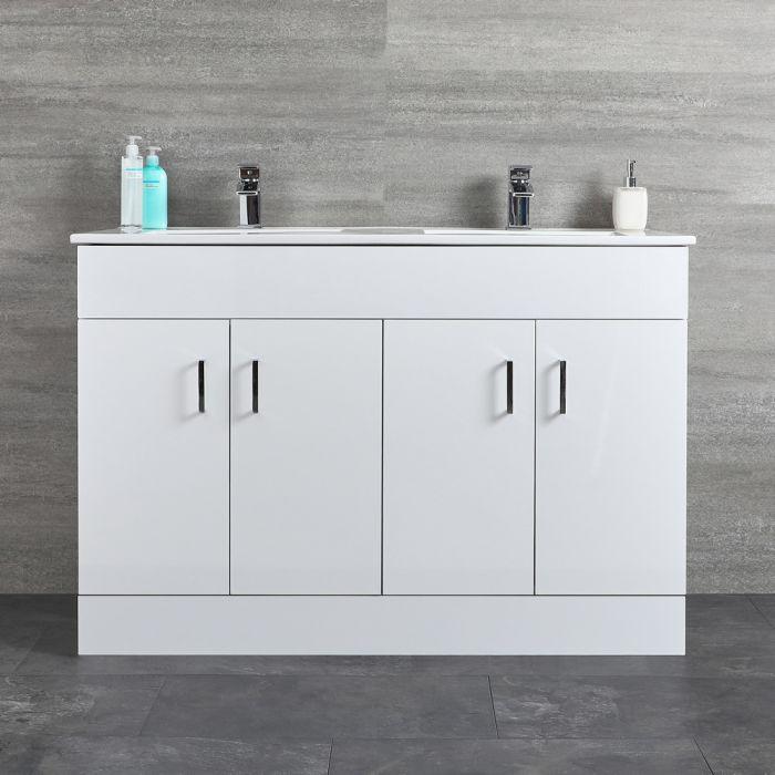 Geo Doppel-Waschbecken mit Unterschrank Weiß B 1210mm, Bodenmontage